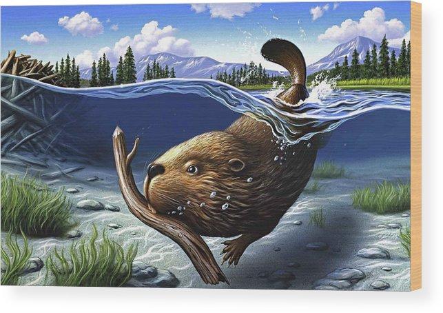 Beaver Wood Print featuring the digital art Busy Beaver by Jerry LoFaro
