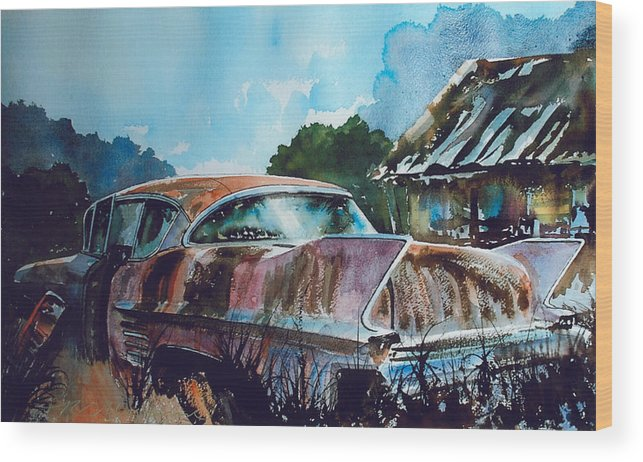 Caddy Wood Print featuring the painting Caddy Subsiding by Ron Morrison