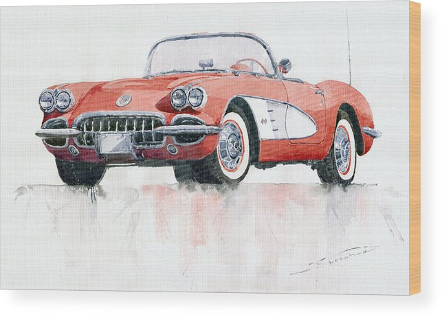 Watercolor Wood Print featuring the painting Chevrolet Corvette C1 1960 by Yuriy Shevchuk