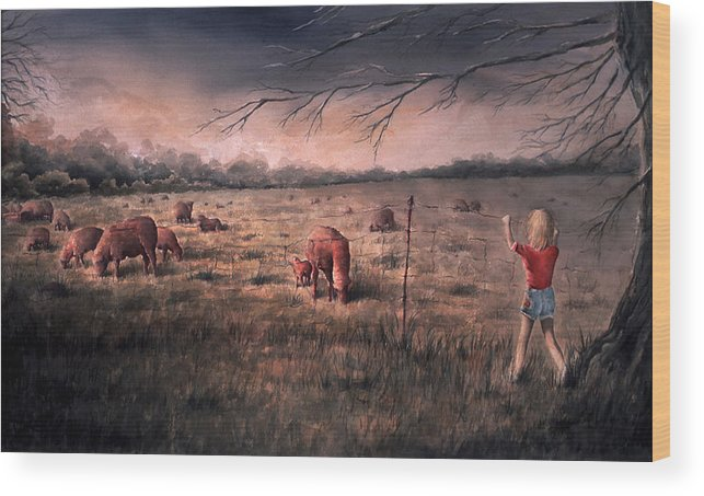 Landscape Wood Print featuring the painting A childhood by William Russell Nowicki