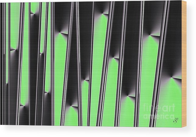 Gradient Wood Print featuring the digital art Green on Black by Ron Bissett