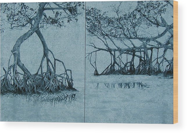 Blue Wood Print featuring the painting Mangroves by Leah Tomaino