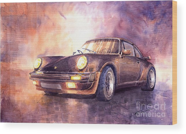 Shevchukart Wood Print featuring the painting Porsche 911 Turbo 1979 by Yuriy Shevchuk