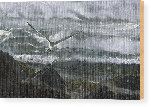 Wood Print featuring the painting Stormy Flight 2 by Charles Parks