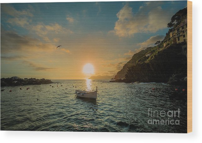 Travel Wood Print featuring the photograph Sunset in Cinque Terre by Alex Dudley