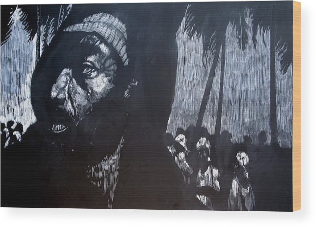 Meet Wood Print featuring the mixed media The Meeting by Chester Elmore