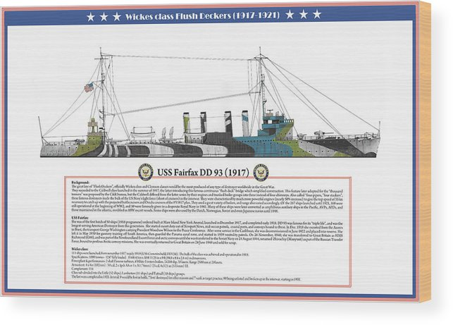 Destroyer Wood Print featuring the painting USS Fairfax DD 93 by The Collectioner