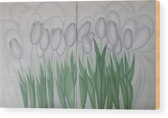 Marinella Owens Wood Print featuring the painting White Tulips by Marinella Owens