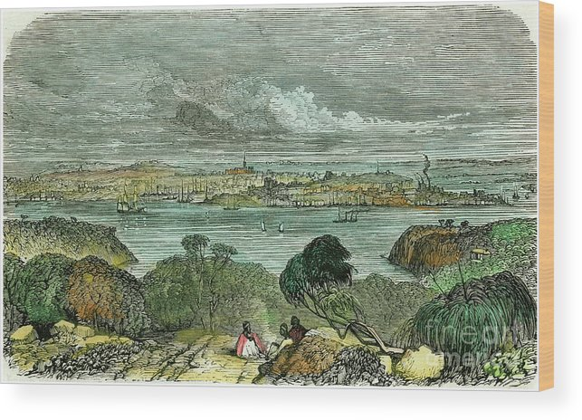 Engraving Wood Print featuring the drawing Sydney, New South Wales, Australia by Print Collector