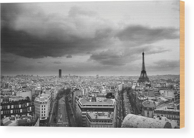 Black Color Wood Print featuring the photograph Black And White Aerial View Of An by Stockbyte