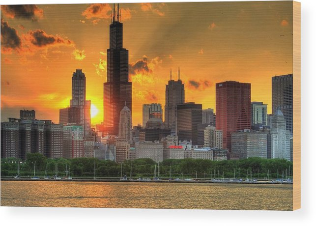 Tranquility Wood Print featuring the photograph Hdr Chicago Skyline Sunset by Jeffrey Barry