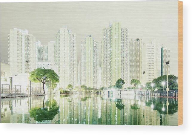 Tranquility Wood Print featuring the photograph Hong Kong Skyline by Spreephoto.de