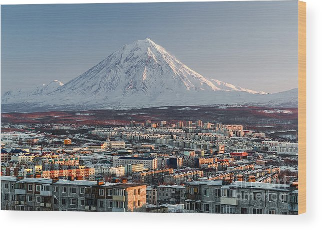 Dwelling Wood Print featuring the photograph Petropavlovsk-kamchatsky Cityscape And by Alex Tihonovs
