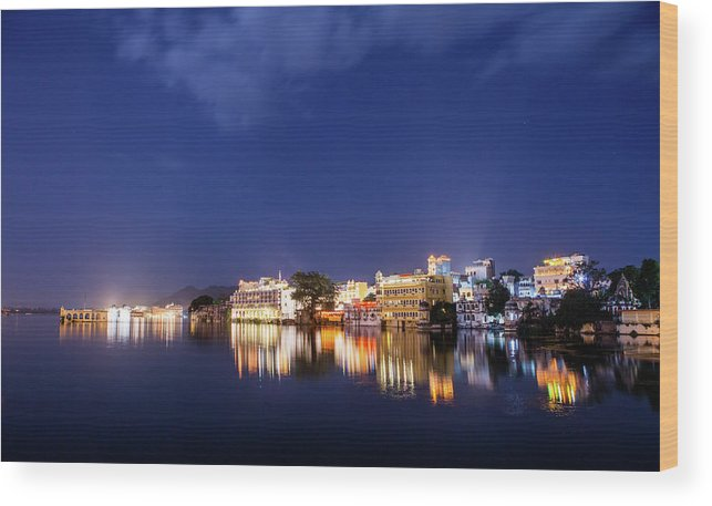 Tranquility Wood Print featuring the photograph Pichola Lake Night View by Greenlin