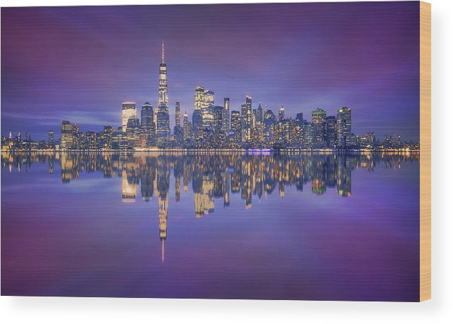 Night Wood Print featuring the photograph Skyline From Nj by Carlos F. Turienzo