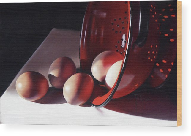 Eggs Wood Print featuring the pastel Spill of Eggs by Dianna Ponting