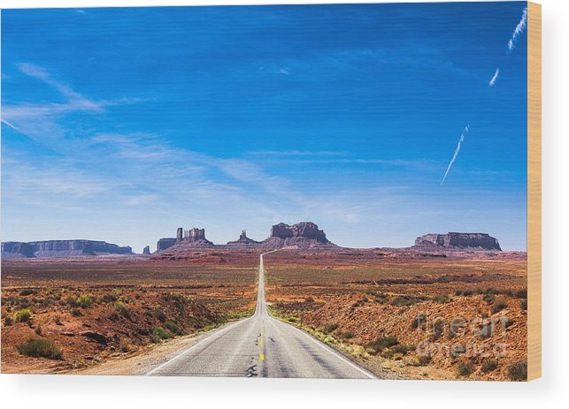 Southwest Wood Print featuring the photograph View Of The Monument Valley And The by Offfstock