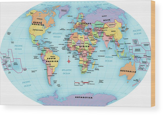 Horizontal Wood Print featuring the digital art World Map, Continent And Country Labels by Globe Turner, Llc