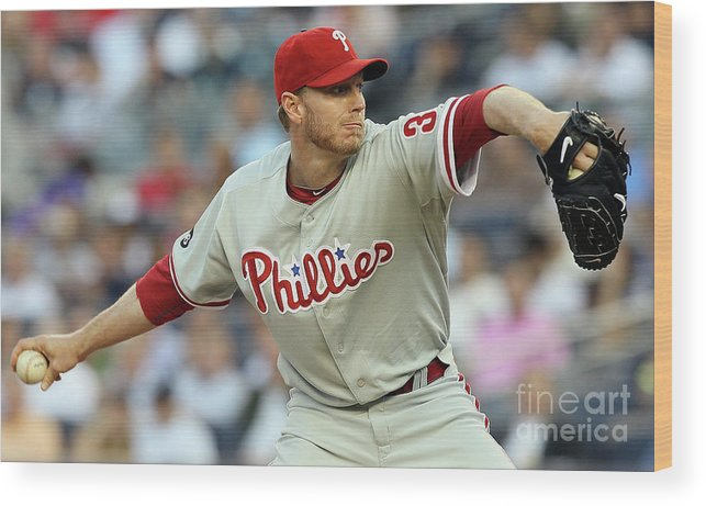 American League Baseball Wood Print featuring the photograph Roy Halladay by Jim Mcisaac