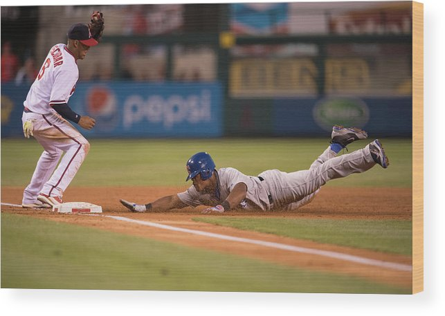 Adrian Beltre Wood Print featuring the photograph Adrian Beltre and Yunel Escobar by Matt Brown