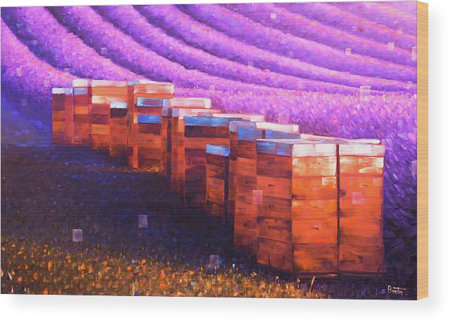 Provenceart Wood Print featuring the painting Beehives of Provence by Rob Buntin