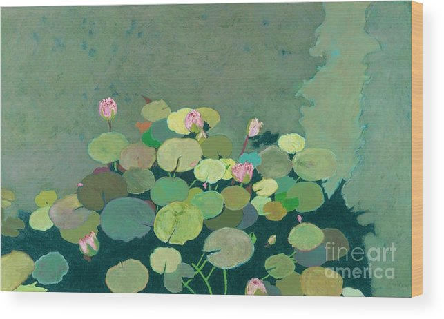 Landscape Wood Print featuring the painting Bettys Serenity Pond by Allan P Friedlander