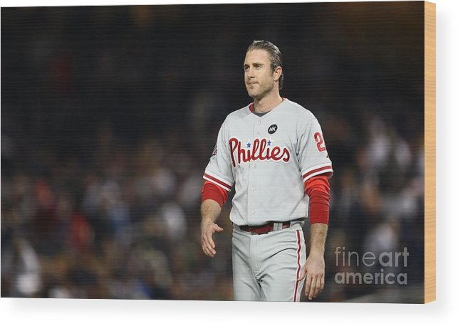Game Two Wood Print featuring the photograph Chase Utley by Chris Mcgrath