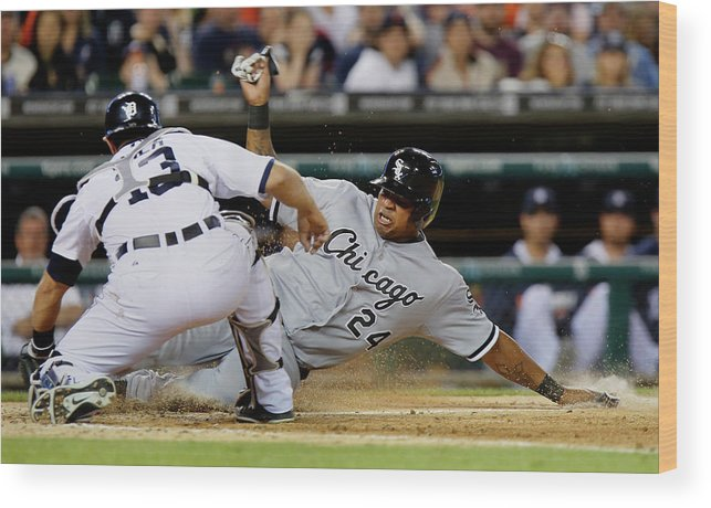 American League Baseball Wood Print featuring the photograph Dayan Viciedo and Alex Avila by Duane Burleson