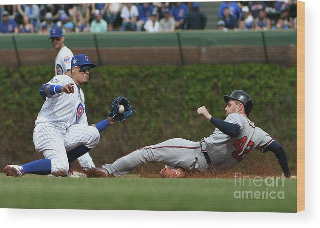People Wood Print featuring the photograph Freddie Freeman and Javier Baez by David Banks