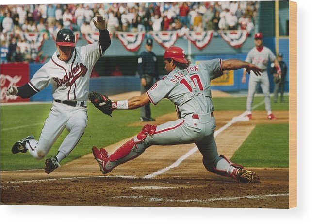 Atlanta Wood Print featuring the photograph Jeff Blauser And Darren Daulton by Ronald C. Modra/sports Imagery