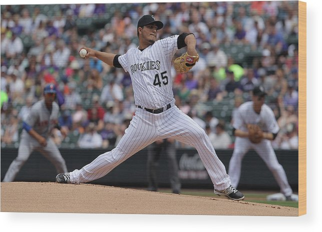 Defeat Wood Print featuring the photograph Jhoulys Chacin by Doug Pensinger