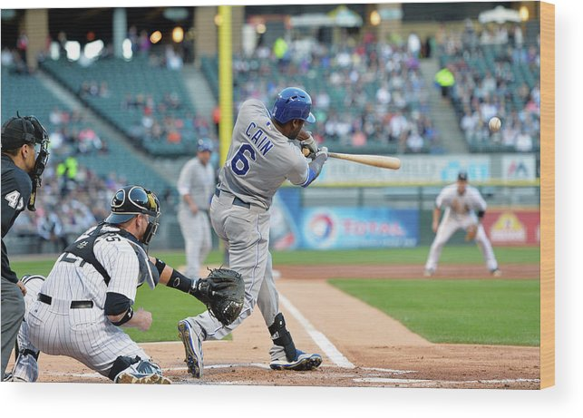 American League Baseball Wood Print featuring the photograph Lorenzo Cain, Alex Gordon, and Billy Butler by Brian Kersey