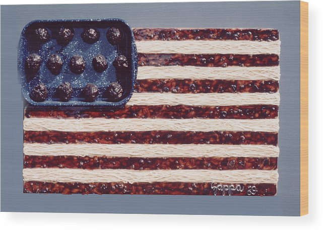 Czappa Wood Print featuring the relief Speggetti Flag by Bill Czappa