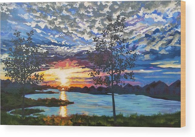 Sunset Wood Print featuring the painting Texas Twilight by Allison Fox