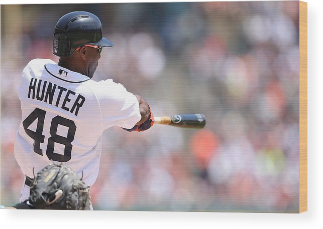 American League Baseball Wood Print featuring the photograph Torii Hunter by Leon Halip