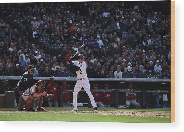 Baseball Catcher Wood Print featuring the photograph Troy Tulowitzki and Miguel Montero by Doug Pensinger
