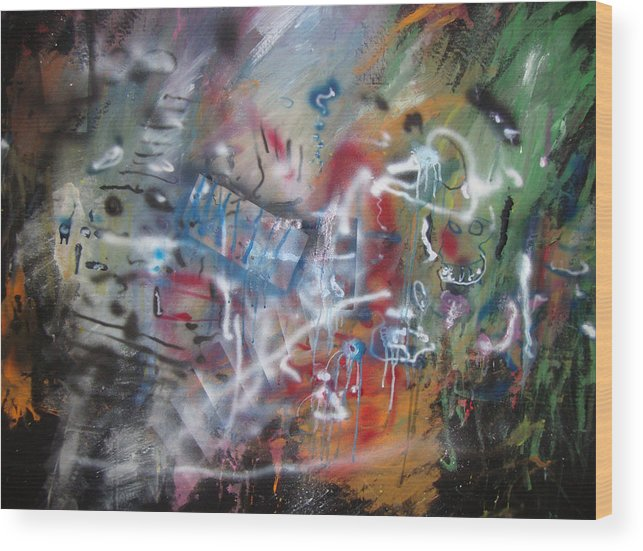 Abstract Wood Print featuring the painting ART by Leigh Odom