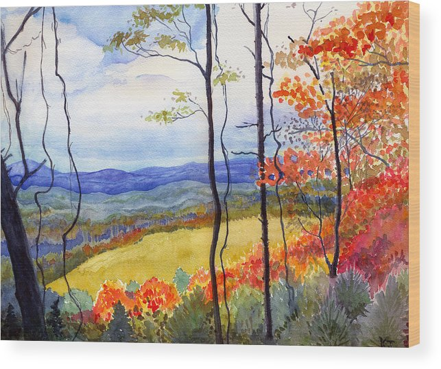 Blue Ridge Mountains West Virginia Wood Print featuring the painting Blue Ridge Mountains Of West Virginia by Katherine Miller