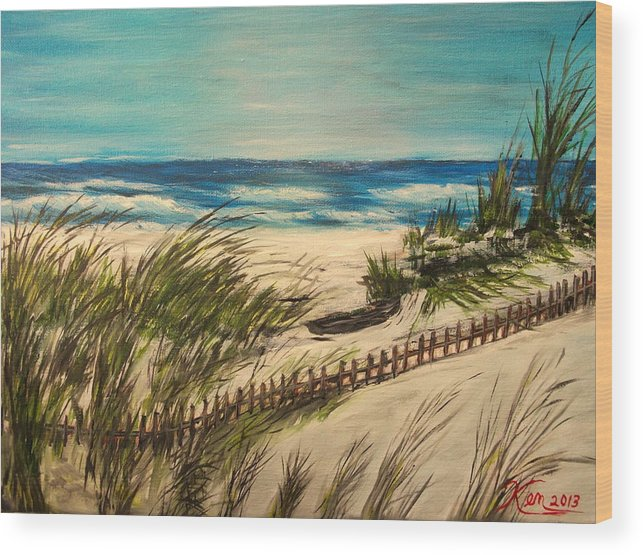 Seascape Wood Print featuring the painting Ocean Beach by Kenneth LePoidevin