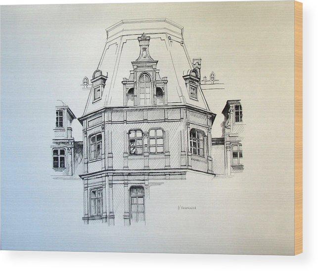 Palace Wood Print featuring the painting Sobanski Palace by Nel Kwiatkowska