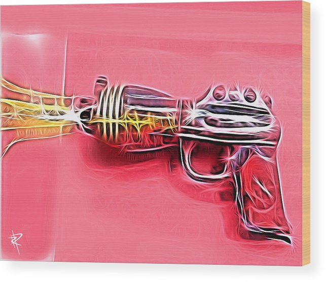 Ray Gun Wood Print featuring the mixed media ZAP by Russell Pierce