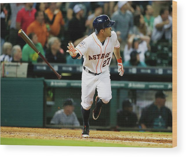 People Wood Print featuring the photograph Seattle Mariners V Houston Astros by Scott Halleran