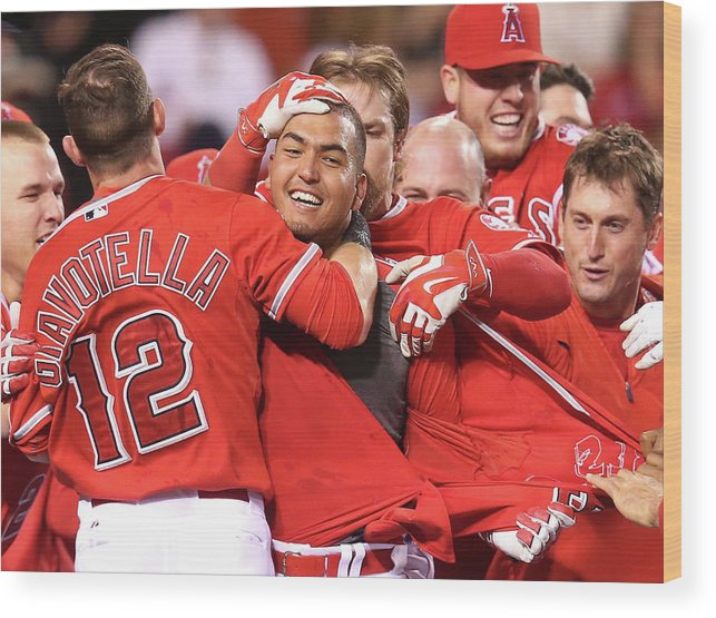 Ninth Inning Wood Print featuring the photograph Seattle Mariners V Los Angeles Angels by Stephen Dunn