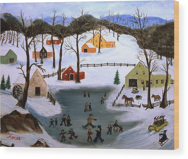 Folk Art Wood Print featuring the painting The Ice Pond by Kenneth LePoidevin