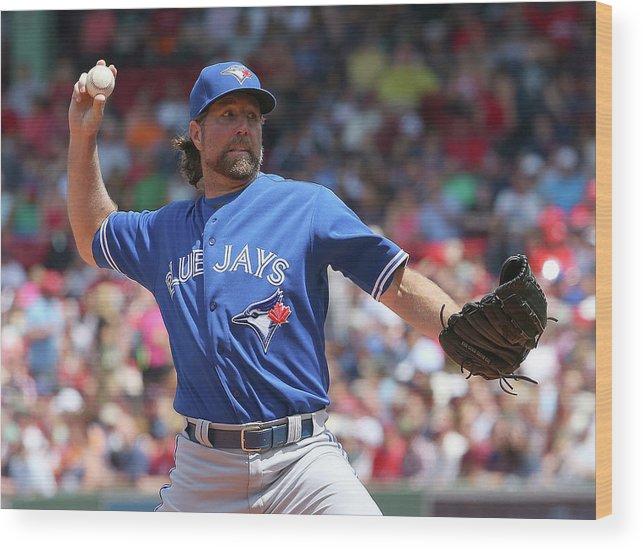 Three Quarter Length Wood Print featuring the photograph Toronto Blue Jays V Boston Red Sox by Jim Rogash