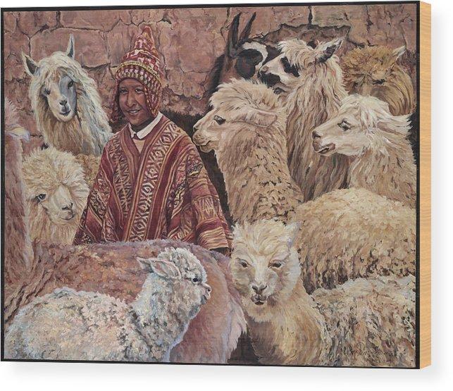 Peru Wood Print featuring the painting Alpaca shepherd by Christine Lytwynczuk