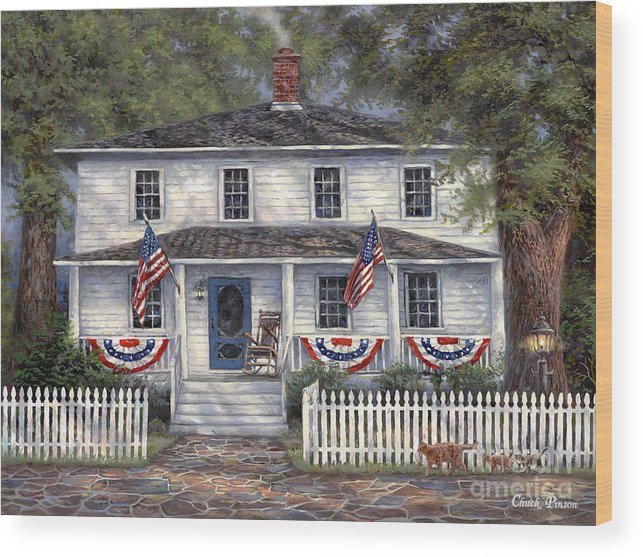 Partriotic Wood Print featuring the painting American Roots by Chuck Pinson