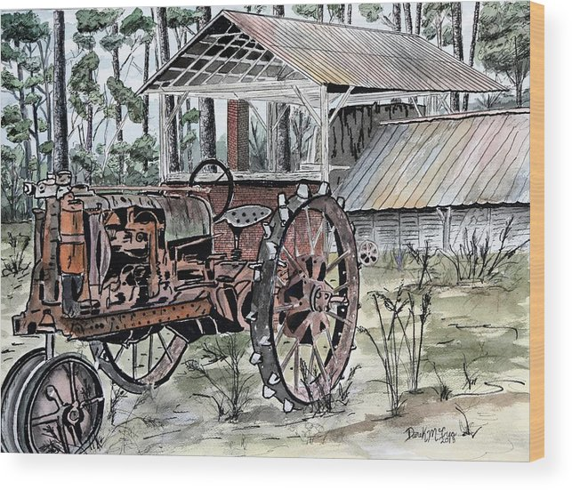 Tractor Wood Print featuring the painting Antique Farm Tractor  by Derek Mccrea