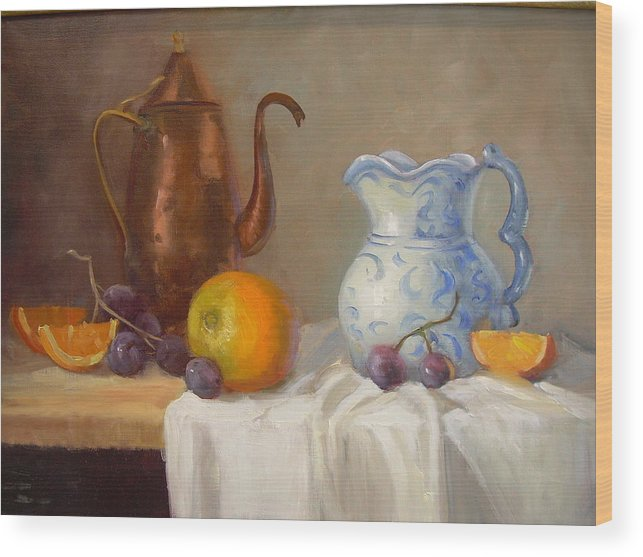 Wood Print featuring the painting Antique Pitcher by Naomi Dixon