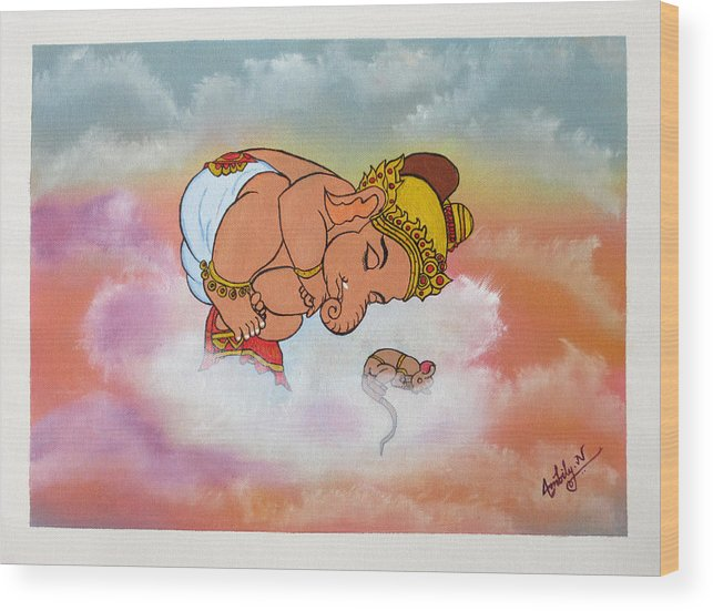 Baby Ganesh Sleeping Wood Print By Ambily N
